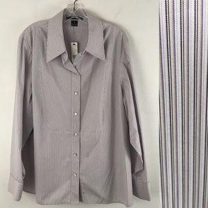 ELLEN TRACY Blouse pinstripe Tailored Size W 18
